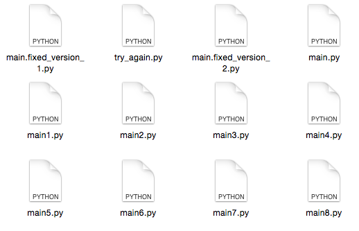 Image of a disorganized folder full of similarly-named files